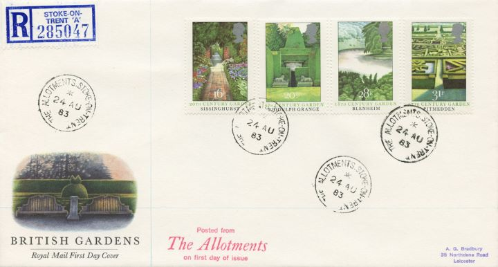 British Gardens, The Allotments rare postmark