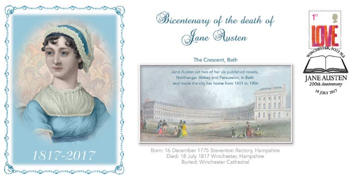 Bicentenary of death of Jane Austen, Portrait plus Crescent Bath