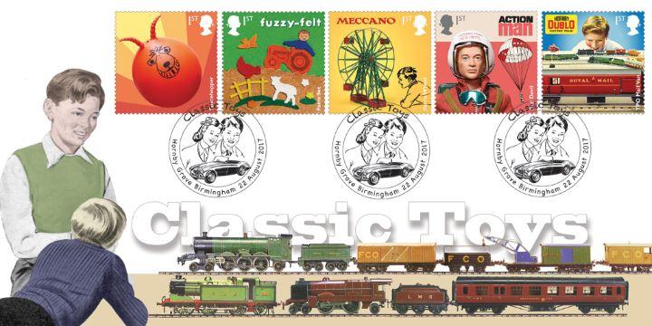 Ten super stamps featuring classic toys - issue date 22nd August