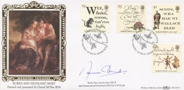 Robert Burns Bicentenary, Signed cover