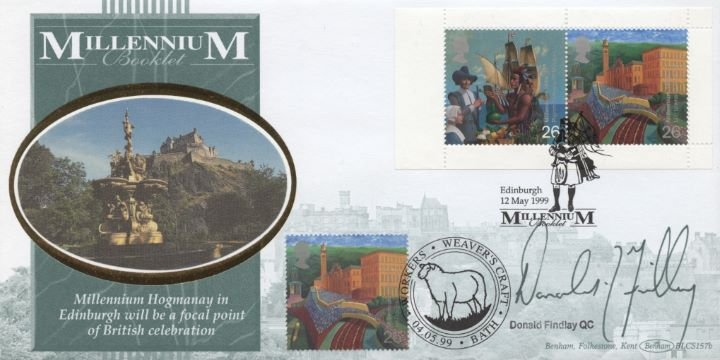 Window: Pilgrim Fathers & Mill Town, Donald Findlay signed
