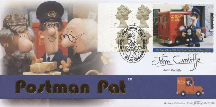 Window: Postman Pat, John Cunliffe signed
