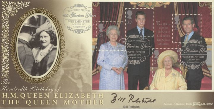 Queen Mother: Miniature Sheet, Bill Pertwee signed