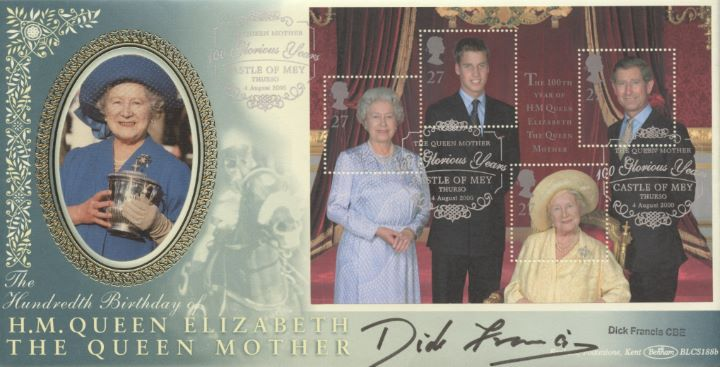 Queen Mother: Miniature Sheet, Dick Francis signed