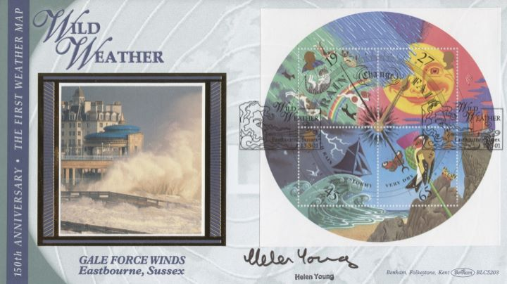 The Weather: Miniature Sheet, Helen Young signed
