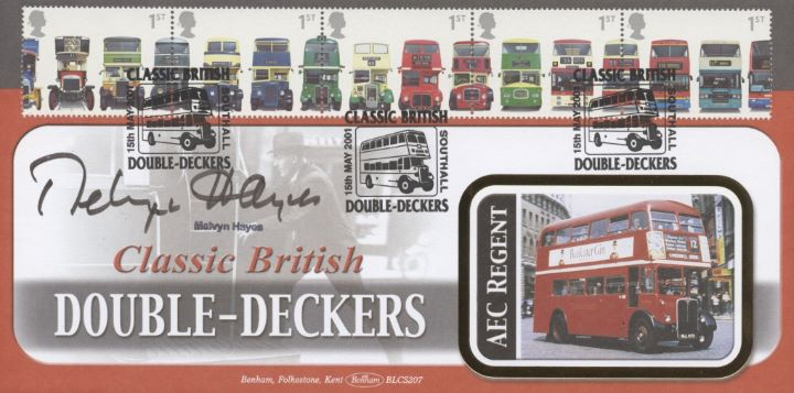 Double Decker Buses: Stamps, Melvyn Hayes signed
