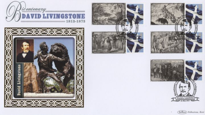 David Livingstone [Commemorative Sheet], Statue with Lion