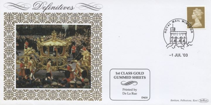 Machins (EP): Gold Stamps: 1st Self Adhesive, Gold Carriage