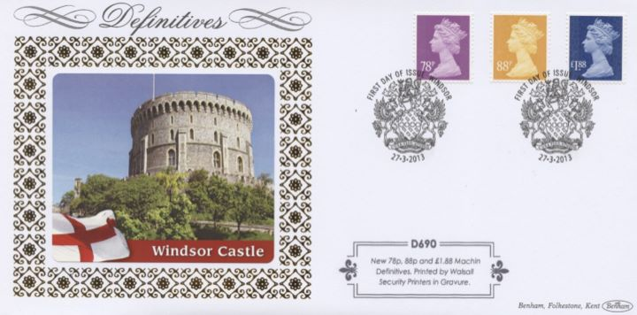Machins (EP): 78p, 88p, 1st &  1st Large Signed For, £1.88, Windsor Castle