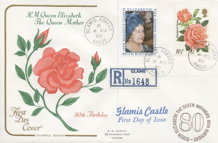 Queen Mother 80th Birthday, With Rose stamp