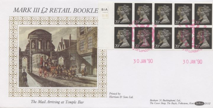 Window: Penny Black Anniversary: £2, The Mail Arriving at Temple Bar