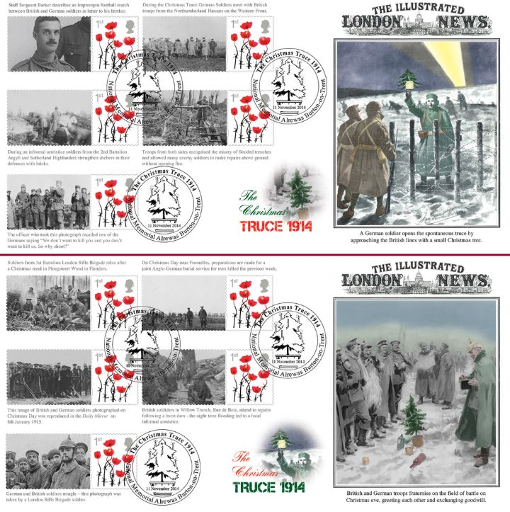The Christmas Truce [Commemorative Sheet], British and German Troops Fraternise