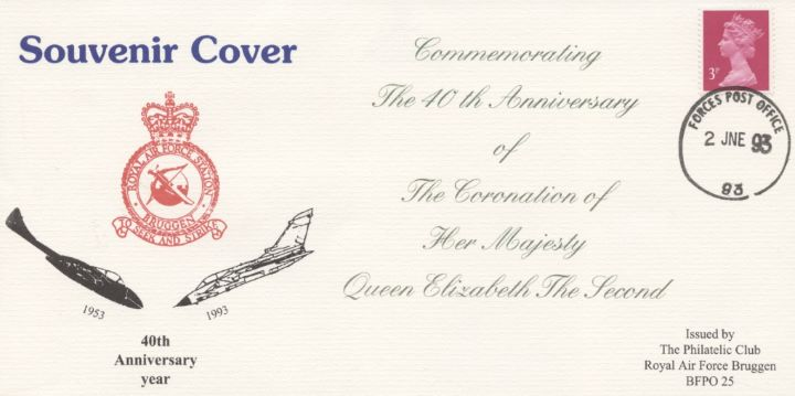 40th Anniversary Coronation of HM The Queen, RAF Bruggen Crest & Aircraft