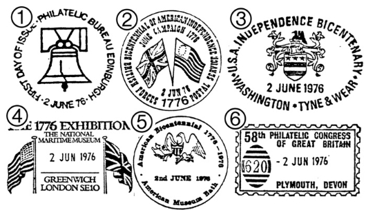 USA Bicentenary: 11p Postmarks