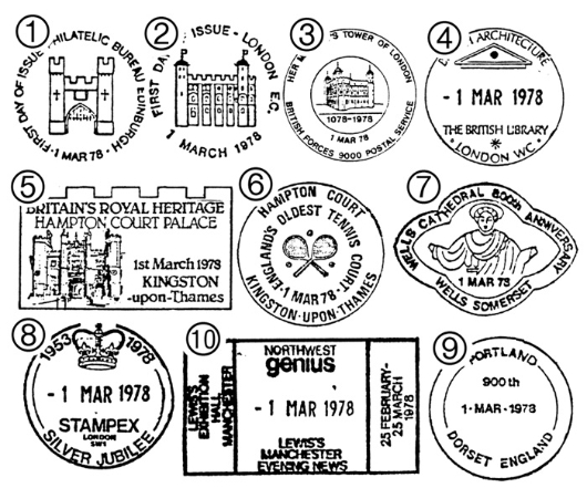 Historic Buildings: Stamps Postmarks