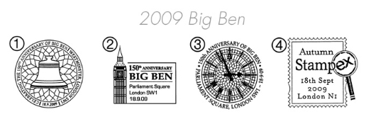 Big Ben [Commemorative Sheet] Postmarks