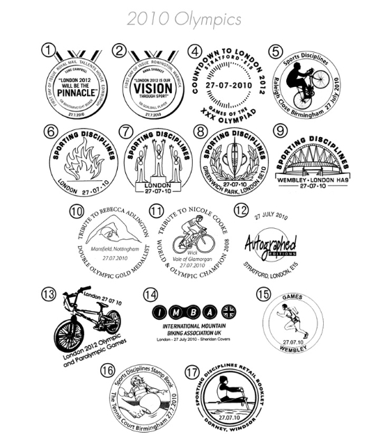 Olympic Games [Commemorative Sheet] Postmarks