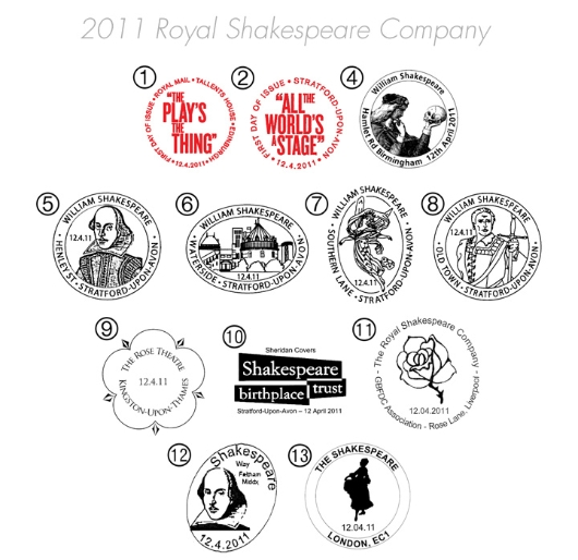 Royal Shakespeare Company: Miniature Sheet Postmarks