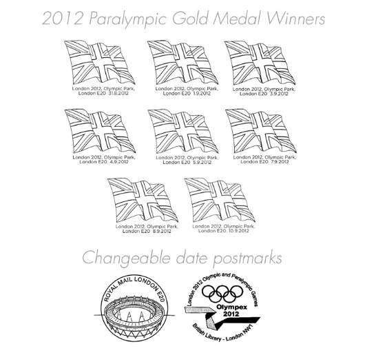 Swimming - Men's 200m Individual Medley, SM8: Paralympic Gold Medal 24: Miniature Sheet Postmarks