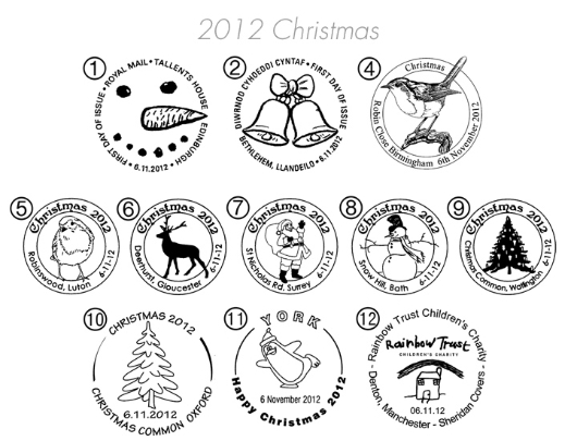 Christmas 2012: Miniature Sheet Postmarks