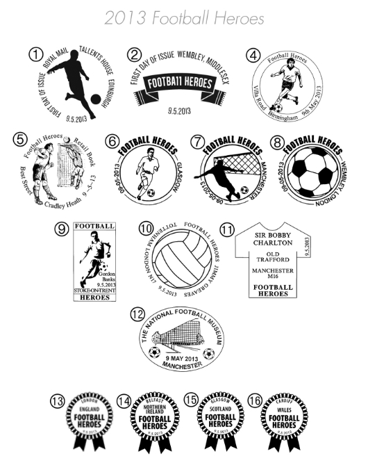 Football Heroes: Miniature Sheet Postmarks