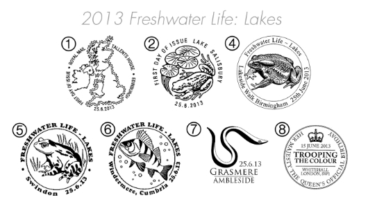 Freshwater Life: Series No.2, Lakes Postmarks