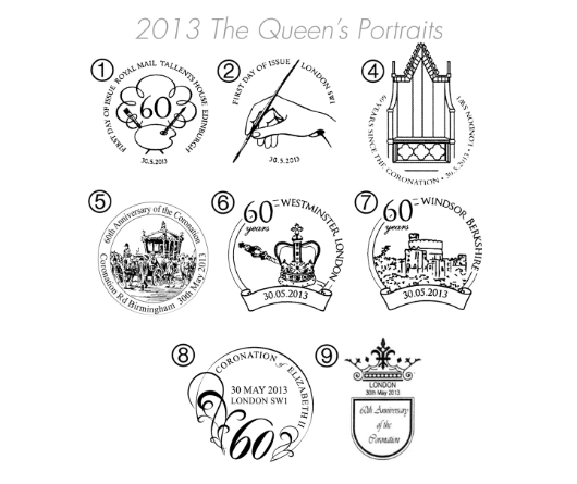 Her Majesty the Queen Royal Portraits Postmarks