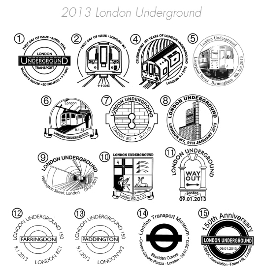 London Underground: Miniature Sheet Postmarks
