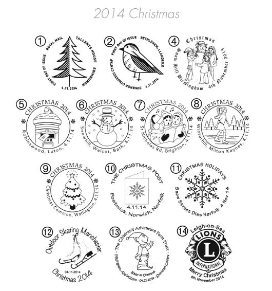 Christmas 2014: Miniature Sheet Postmarks
