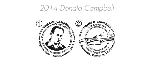 Donald Campbell [Commemorative Sheet] Postmarks