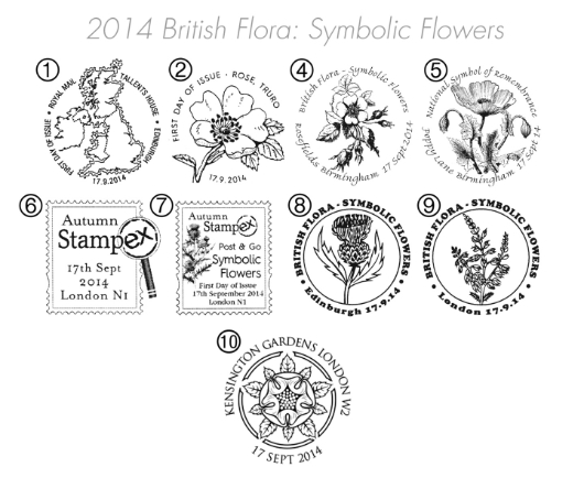 British Flora: Series No.2, Symbolic Flowers Postmarks