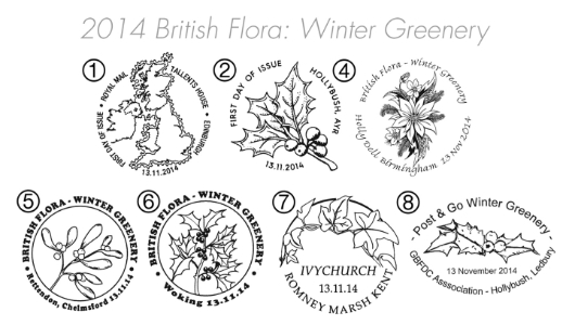 British Flora: Series No.3, Winter Greenery Postmarks