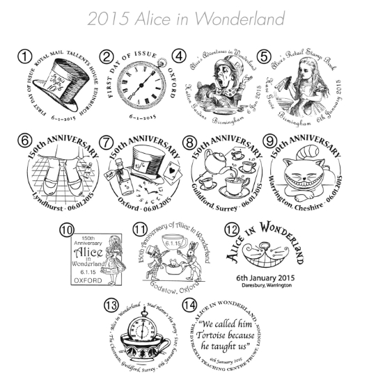 Alice in Wonderland Postmarks