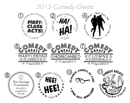 Self Adhesive: Comedy Greats Postmarks