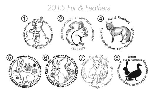 Winter Fur & Feathers Postmarks