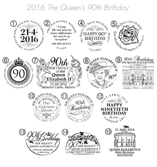H M The Queen's 90th Birthday Postmarks