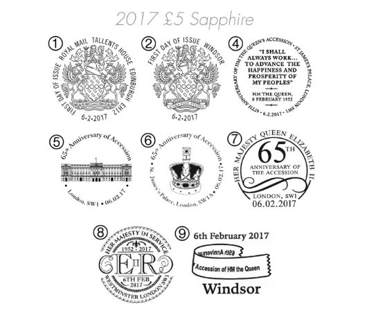 65th Anniversary of Queen's Accession Postmarks