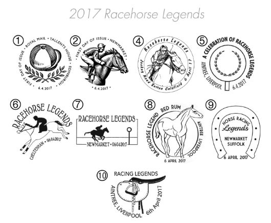 Racehorse Legends Postmarks
