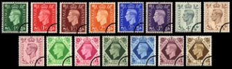 KGVI: Set of 15 Low Value Definitives