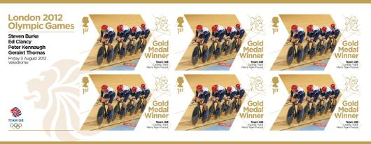 Cycling - Track - Men's Team Pursuit: Olympic Gold Medal 7: Miniature Sheet