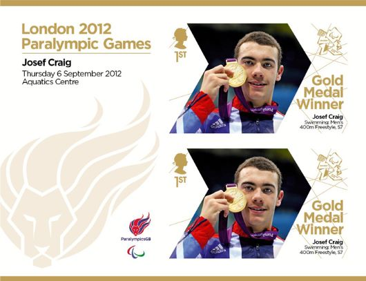 Swimming - Men's 400m Freestyle, S7: Paralympic Gold Medal 28: Miniature Sheet