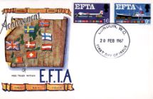 20.02.1967 European Free Trade Area Flags & Map Connoisseur