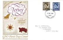 04.09.1968 Jersey 4d Brown & 5d Blue Map of the Channel Islands Royal Mail/Post Office