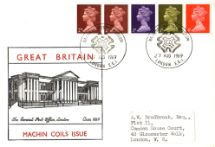 27.08.1969 Machins: 1s Se-tenant Stamp Coil The General Post Office Historic Relics