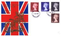 05.03.1969 Machins: High Values Set St George & the Dragon on Union Jack Thames Gold Embossed