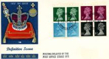 15.02.1971 Stitched: Decimal Values: 10p Pillar Boxes 1 (1855) Coronation Regalia Philart