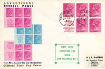 24.12.1971 Stitched: New Design: 25p Transport 4 (Mail Van) Christmas Eve Booklet 1(a)