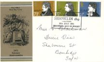 28.07.1971 Literary Anniversaries 1971 Shanklin Postmark Royal Mail/Post Office