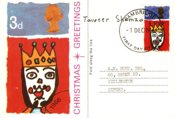 Christmas 1966, Maxi Card signed by stamp designer
