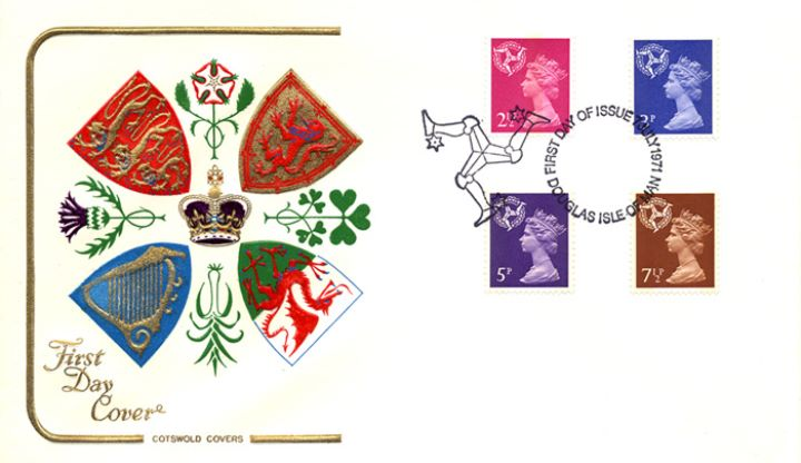 Isle of Man 2 1/2p, 3p, 5p, 7 1/2p, Regional Coats of Arms & Emblems